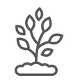 plant line icon farming and agriculture vector image