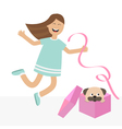 Girl jumping for joy Gift box with puppy pug dog vector image