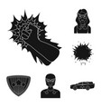 a fantastic superhero black icons in set vector image