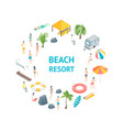 beach rest concept banner card circle 3d isometric vector image vector image