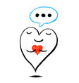 big heart is holding a red heart funny greeting vector image