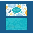 blue and yellow flowersilhouettes horizontal frame vector image