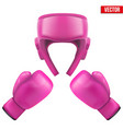 Boxing helmet and gloves Self-defense vector image