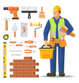 builder man and icons for building construction vector image vector image