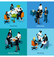Business People Isometric Icon Set vector image