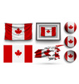 canada flags collection isolated on white vector image vector image
