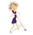 cartoon singer woman isolated vector image