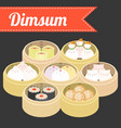 chinese food dim sum vector image vector image