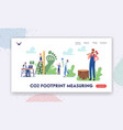 co2 footprint measuring landing page template vector image