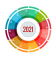 colorful round calendar 2021 calendar week starts vector image vector image