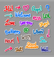 colorful speech stickers vector image vector image