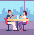 couple drinking coffee flirting woman and man at vector image