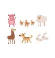 cute farm animals set pig sheep goose rabbit vector image vector image