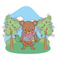 cute little bear with shirt and walkman in the vector image