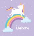 cute magical unicorn walking on rainbow animal vector image vector image
