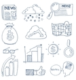 Doodle of business finance object set vector image