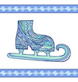 doodle winter skates with boho pattern for your vector image