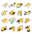 electric tools icons set isometric cartoon style vector image vector image