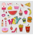 Fashion patches elements with sweets food and vector image