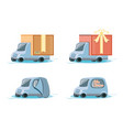 fast delivery service with trucks travel vector image vector image