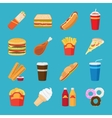 Fastfood and drink flat icons vector image vector image