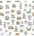flat line art ecological factory seamless vector image