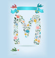 floral letter m with blue ribbon and three doves vector image