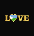 golden love typography djibouti flag design vector image vector image