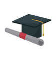 graduation cap and diploma education image vector image vector image