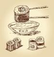 hand drawn sushi vector image vector image