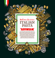 italian pasta and spaghetti sketch poster vector image vector image
