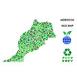 leaf green collage morocco map vector image vector image