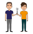 men with wrench tool isolated icon vector image