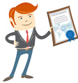 Office man showing a diploma vector image vector image