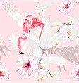 pink flamingo graphic palm leaves ficus vector image vector image