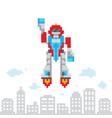 pixel art retro game style cartoon flying robot vector image