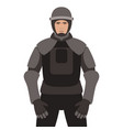police in armor flat style vector image vector image