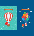 poster santa claus hanging on balloon vector image