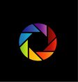 rainbow colored photography shutter logo vector image vector image