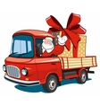 Santa Claus on red truck delivers gifts vector image vector image