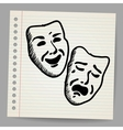 Scribble theater masks vector image vector image