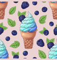 seamless pattern ice cream wild berries vector image vector image