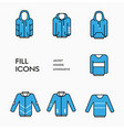 set clothing icons with blue fill and black vector image