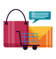 shopping bag cart email talk bubble vector image