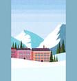 Ski resort hotel houses buildings winter snowy