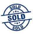 sold blue round grunge stamp vector image vector image