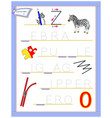 tracing letter z for study english alphabet