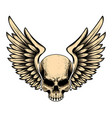 winged skull in tattoo style isolated on white vector image vector image