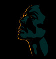 woman face silhouette in contrast backlight vector image vector image