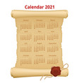 2021 calendar on old paper week starts sunday vector image
